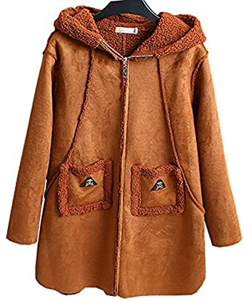 Fashciaga Women's Faux Suede Winter Coat With Fleece Camel