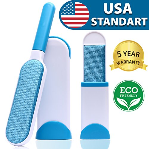 Pet Hair Remover - Fur Remover - Pet Lint Remover - Fur Removal - Pet Fur & Lint Remover - Double-Sided Brush with Self-Cleaning Base - Dog & Cat Hair Remover for Furniture Clothing Bed Car Seat