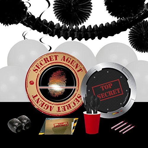 BirthdayExpress Top Secret Spy Childrens Party Supplies Pack and Decoration Kit - 16 Guests