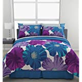 OS 7 Piece Girls Blue Purple Giant Flowers Theme Comforter Full Set, High-Class Luxury Floral Bedding, Elgance Girly Charming Boho Hippy Pattern, Pretty Solid Teal Reversible Print, Vibrant Colors