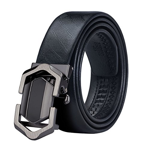 Black Jeans Belt Automatic Buckle Genuine Leather Belt Classic 100% Leather Ratchet Belt Adjustable Dress Belt With Plus Size by Hi-Tie