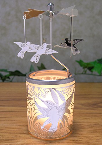 Glass Ornament Carousel (Frosted Glass Candle Holder With Spinning Humming Birds Silver Metal Scandinavian Style Carousel)
