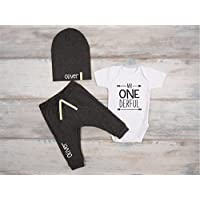 First Birthday Boy Outfit, Set of 3 - Mr. ONEderful Baby Boy Bodysuit, Pants and Hat