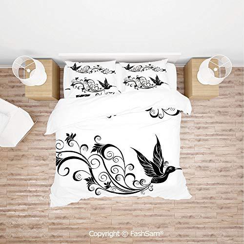 FashSam Duvet Cover 4 Pcs Comforter Cover Set Tattoo Hummingbird Silhouette Wildlife Decorative Curvy Stems Blooms Imagery for Boys Grils Kids(Single) -