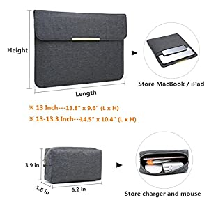 """HYZUO Chiffon Fabric 13 Inch Waterproof Laptop Sleeve Protective Case for 13"""" New MacBook Pro Retina 2017 2016/Microsoft Surface Pro 2017/Pro 4/3/ Dell XPS 13 with Carrying Bag, 13""""Dark Gary"""