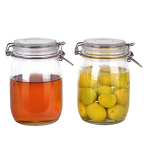 2 Pack 1-Liter 34 oz Clear Airtight Glass Jars with Hinged Lid and Leak Proof Rubber Gasket for Home and Kitchen.Sturdy and Perfect Container for Herbs,Spices,nut,cookie,candy,beans.
