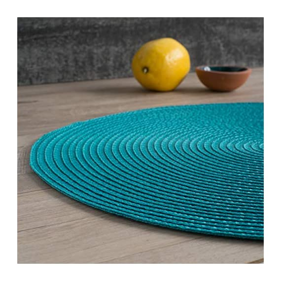 Now Designs Disko Round Placemats, Set of Four, Peacock - This placemat set includes four matching woven placemats Each placemat in the set measures 15 inches in diameter Sturdy and durable, these placemats are ideal for year round dining indoors or outdoors - placemats, kitchen-dining-room-table-linens, kitchen-dining-room - 51 trjvNxpL. SS570  -