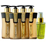 Keratin Cure 0% Formaldehyde Bio-Brazilian Treatment Kit 10.14 oz 5 piece Kit Gold & Honey 300 ML with serum