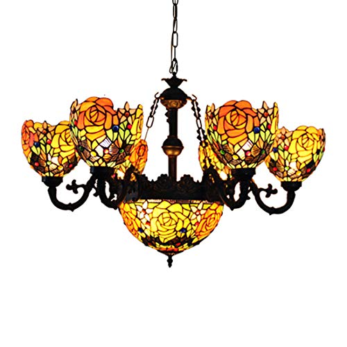 Makenier Vintage Tiffany Style Stained Glass Deep-Yellow Rose Flower 6 Arms Chandelier with 12 Inches Inverted Ceiling Pendant Lamp ()