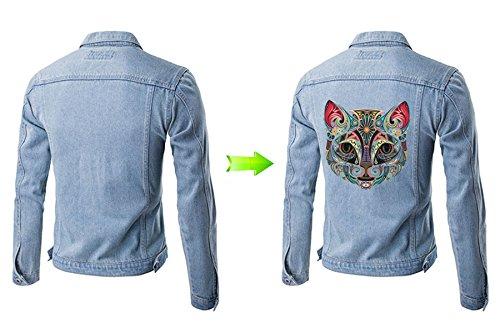 Pegatina transfer parche termoadhesivo gato mandala para cazadoras camisetas bolsos sudaderas 23 x 24 CM.de CHIPYHOME