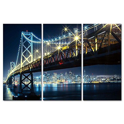 - Wall Art Decor Poster Painting On Canvas Print Pictures 3 Pieces Oakland Bay Bridge with San Francisco in The Backgroung Night Bridge Landscape Framed Picture for Home Decoration Living Room Artwork