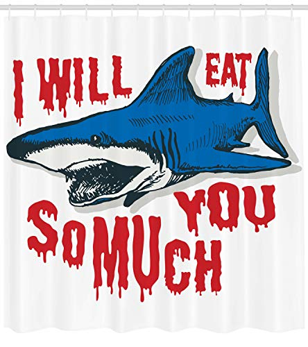 Lunarable Shark Shower Curtain, Grunge Artwork of Bloody Image of Bronze Whale Shark with Alluring 'Eat You' Quote, Fabric Bathroom Decor Set with Hooks, 105 Inches Extra Wide, Blue Red ()