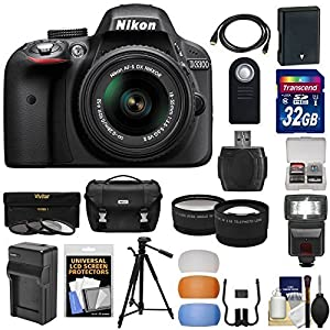 Nikon D3300 Digital SLR Camera & 18-55mm G VR DX II AF-S Zoom Lens with 32GB Card + Battery & Charger + Case + Tripod + Flash + Tele/Wide Lens Kit