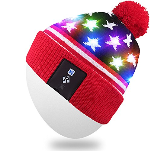 Rotibox LED String Light Up Beanie Hat Knit Cap with Copper Wire Colorful Lights 4 feet 18 LEDs for Men Women Indoor and Outdoor, Festival, Holiday, Celebration, Parties, Bar, Christmas (Blinking Led Sports Caps)