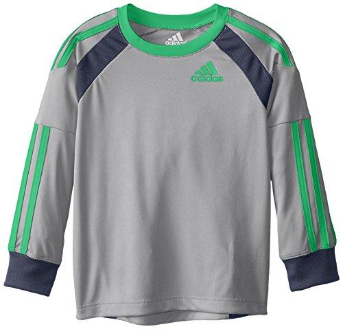 adidas Toddler Boys' Performance Logo Long Sleeve Tee Shirt, Onyx Grey/Heather, (Onyx Heather)