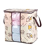 Habitaen Non-Woven Portable Clothes Storage Bag Organizer 45.55129Cm Folding Closet Organizer For Pillow Quilt Blanket Bedding Angel Bear