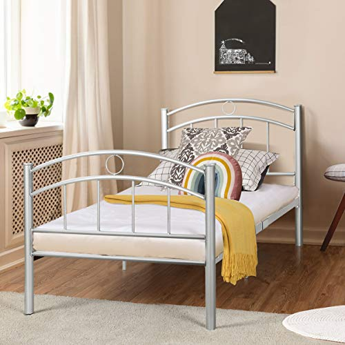 Bedroom Vintage Footboard - Giantex Twin Size Bed Frame, Premium Metal Bed Frame Platform, Easy Set-up Mattress Foundation, Enhanced Sturdy Slats, Box Spring Replacement w/Footboard, Vintage Style for Kids Student Bedroom