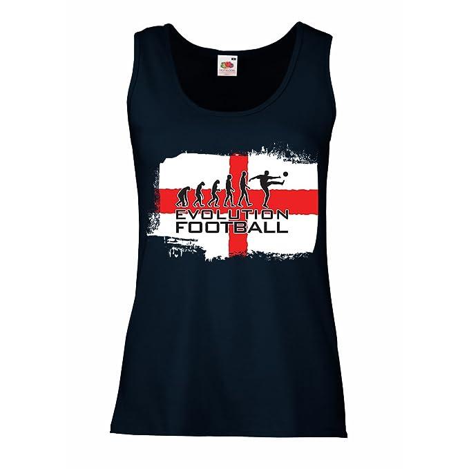 lepni.me Camisetas sin Mangas para Mujer La Evolución de Fútbol - Inglaterra, Campeonato de Rusia 2018, Copa del Mundo - Camisa del admirador de Equipo del ...