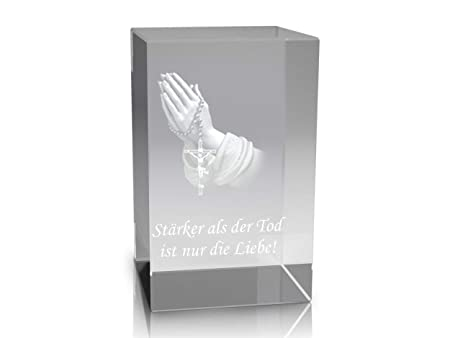 VIP-LASER &apos 3D Glass Crystal Quader XL with Praying Hands and