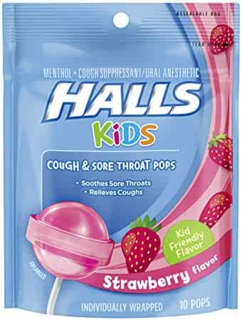 Halls Kids Pops Cough and Sore Throat, Strawberry, 10 Count
