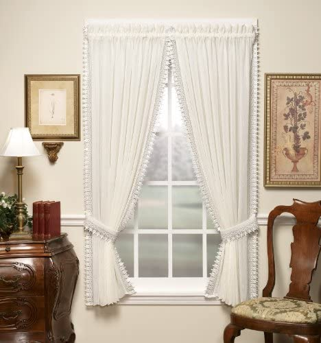 Today s Curtain Versailles Macrame Crushed Window Voile Panel, 84-Inch, Ecru