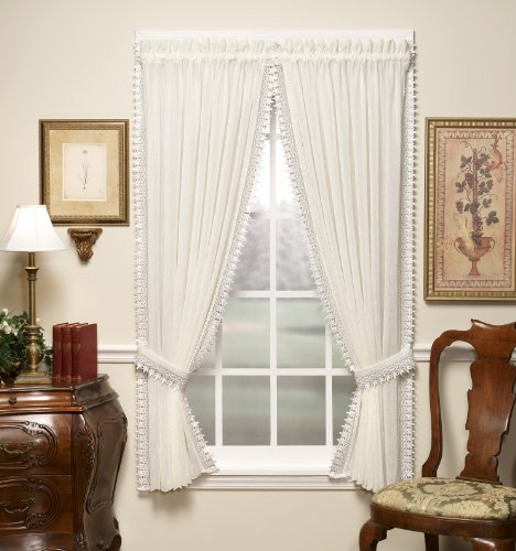 Today's Curtain Versailles Macrame Crushed Window Voile Panel, 84-Inch, Ecru