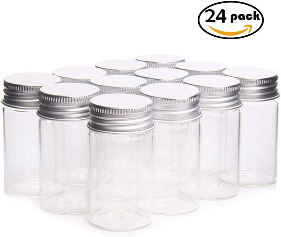 HARVARD 24pcs Tarros de Vidrio,Mini Bote de Cristal Transparente con Tapa de de Rosca Metálico Aluminio,Botellas Pequeños para Fiesta de Boda,Recuerdo de Bautizo Y Comunión (30mm x 60mm,25ml)