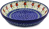 Polish Pottery Pie Dish 10-inch made by Ceramika Artystyczna (Redbird On A Wire Theme)