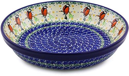 Polish Pottery Pie Dish 10-inch made by Ceramika Artystyczna (Redbird On A Wire Theme) by Polmedia Polish Pottery