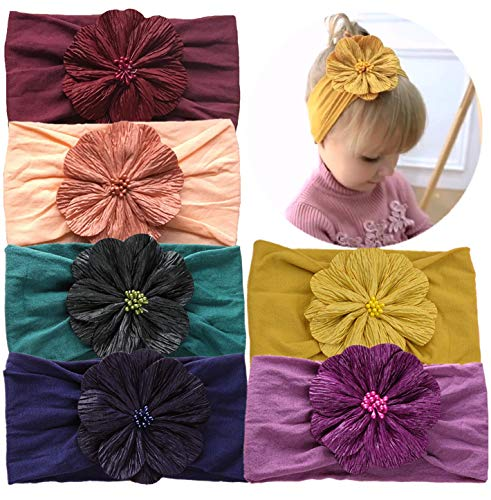 (Qandsweet Baby Girl's Headbands and Bows Hair Accessories (6 Pcs Beads Flower))