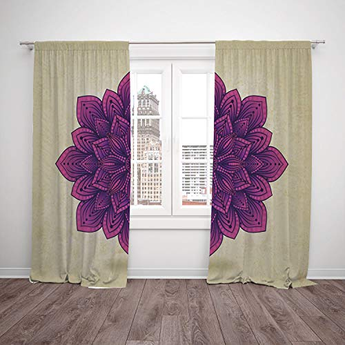 Insulated Blackout Window Curtain,Lotus Geometric Digital Stylized Ethnic Mandala in Vibrant Tones Artistic Graphic Egg Shell Fuchsia,for Bedroom Living Room Dorm Kitchen Cafe ()