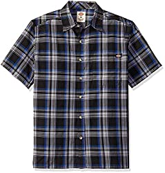 Dickies Men's Relaxed Fit Short Sleeve Square Bottom Plaid Shirt, Yankees Blue/Southern Fall, Large/Tall