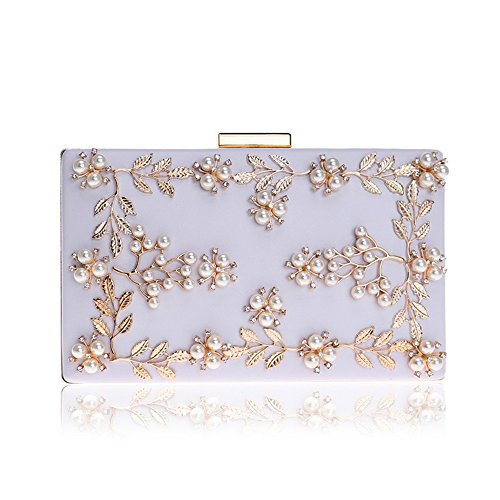 Pearl Flower Women White Clutch Bag Small Purses Evening Leaves Bridal Party Bag Wedding Handbag HUXXqpw