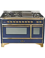 Ilve UM120FDMPBL 48 Dual Fuel Range with Griddle 7 Semi-Sealed Burners Multi-Function European Convection Oven Electric Oven 2 Rotisseries and Warming Drawer: Midnight Blue with Brass