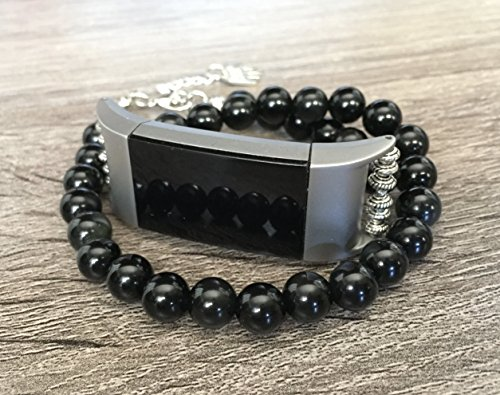 Two Stone Bead (Black Obsidian Stones Bracelet for Fitbit Charge 2 Fitness Tracker Volcanic Natural Glass Beads Fitbit Charge 2 Replacement Accessory Band Unique Silver Jewelry Protective Bangle Wristband)