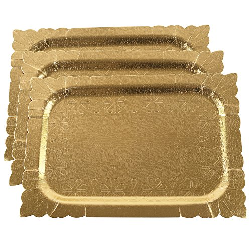 Pack of 3 Heavy Duty Disposable Gold Colored Trays
