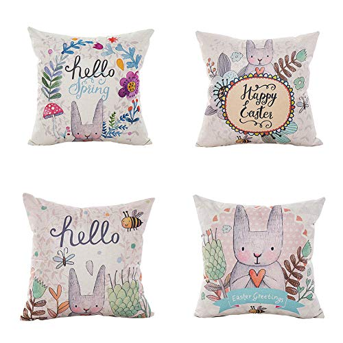 LEIOH Happy Easter Rabbit and Spring Flowers Decorative Pillow Covers Set of 4 Sofa Home Decor Bunny Throw Pillow Case Cushion Covers 18 X 18 Inch