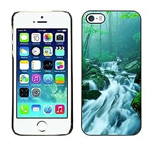 YiPhone /// Prima de resorte delgada de la cubierta del caso de Shell Armor - Bamboo Chinese Waterfall Stream - Apple iPhone 5 / 5S