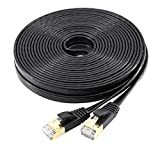 Cat7 Ethernet Cable Flat, jadaol Shielded (STP) with Snagless Rj45 Connectors - 25 Feet Black (7.62 meters)