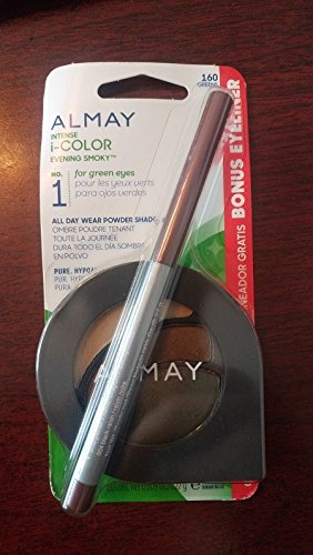 Almay Intense i-Color Evening Smoky 160 Greens All Day Wear Powder Shadow w/Bonus Eyeliner