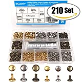 #7: Seloky 210 Set 2 Sizes Leather Rivets Double Cap Rivet Tubular Metal Studs with 3 Fixing Tool Kit for Leather Craft Repairing Decoration,2 Sizes and 3 Colors (Gold, Silver and Bronze)