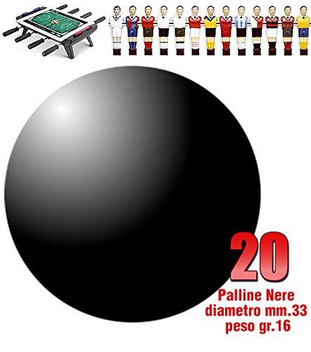 Calcio Balilla set di 20 palline standard HS colore nero per calcetto diametro mm.33, peso gr.16. Calcio Balilla Vari