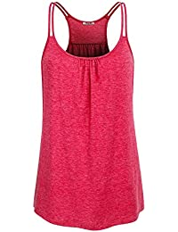 Womens Scoop Neck Cute Racerback Yoga Workout Tank Top