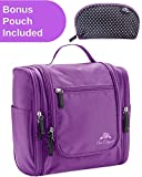 Premium Cosmetic Bag By AmElegant - Spacious Women And Men Toiletry Bag - Makeup Organizer And Beauty Product Organizer (Purple)