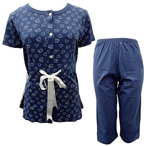 cotone CHARACTER art pinocchietto in donna manica P861 pigiama mezza Blu wvxqRUTvC