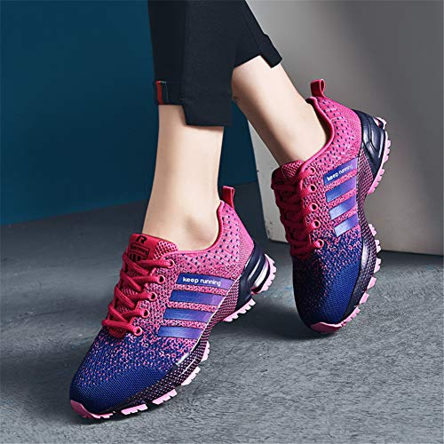 KUBUA Womens Running Shoes Trail Fashion Sneakers Tennis Sports Casual Walking Athletic Fitness Indoor and Outdoor Shoes for Women F Purple Women 5.5 US/Men 4.5 M US by KUBUA (Image #5)