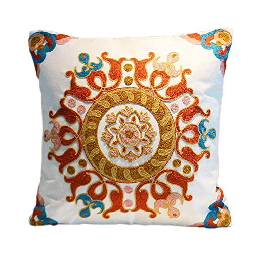 Square Pillowcase for Sofa Bed or Car 18 x 18 Inches Soft Cotton Throw Pillow Cover, Floral Design and Geometric Patterns Decorative Pillowslip, Pack of 1