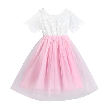 252b5ca8ab1 Tronet Kids Baby Girl Flower Clothes Princess Lace Tulle Party Bridesmaid  Pageant Dress Pink
