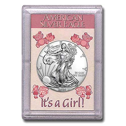"""2020 - American Silver Eagle in""""It's a Girl"""" Holder Dollar Uncirculated Us Mint 51-tvA7yzYL"""