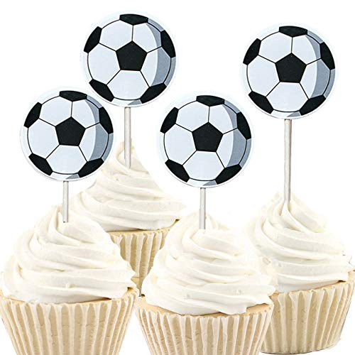 iMagitek 48 Pack Soccer Ball Cupcake Toppers Decorations for Soccer Ball Theme Party, Birthday Party, Baby Shower -